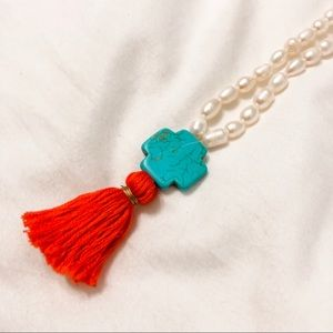 Red white and blue pearl necklace